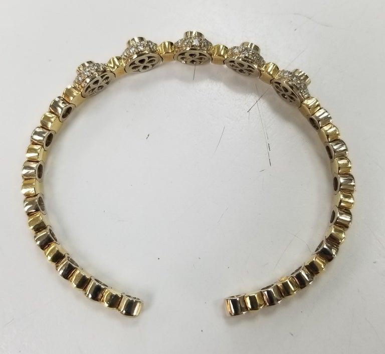 Women's or Men's 14 Karat 2-Tone Gold Diamond and Emerald Flexible Bracelet For Sale