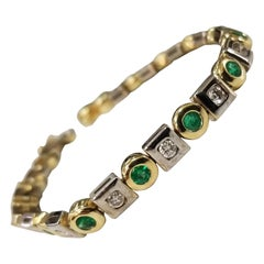 14 Karat 2-Tone Gold Emerald and Diamond Bracelet
