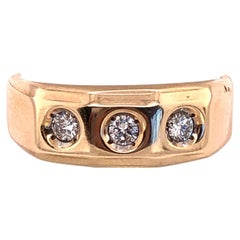 14 Karat 3 Diamond Yellow Gold Ring One 1/2 Carat Total Diamond Weight