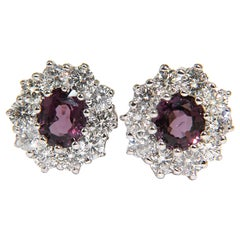 14 Karat 3.36 Carat Natural Purple Spinel Diamond Cluster Earrings and Omega