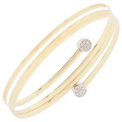 14 Karat 4 Band Wrap Bracelet with Diamond Bezel Ends Yellow Gold