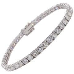 14 Karat 8.64 Carat Round Diamond Line Tennis Bracelet