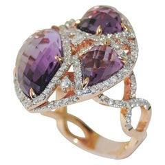 14 Karat 9.59 Carat Amethyst and Diamond Ring
