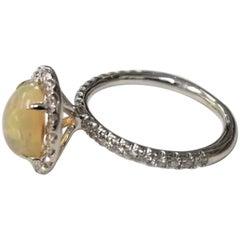 14 Karat African Opal and Diamond Ring