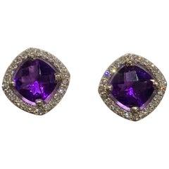 14 Karat Amethyst and Diamond Halo Earrings