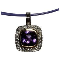 14 Karat Amethyst and Diamond Necklace