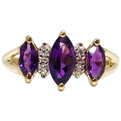 14 Karat Amethyst Diamond Ring