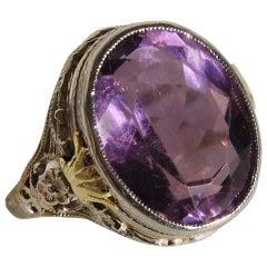 14 Karat Amethyst Gold Filigree Ring, 1920s