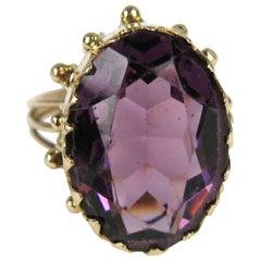 14 Karat Amethyst Gold Ring 19th Century Claw Set