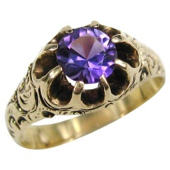 14 Karat Amethyst Gold Ring Unisex Victorian Claw Set