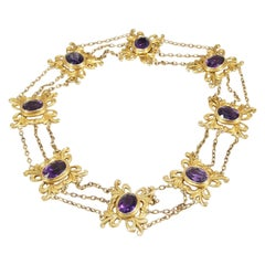 14 Karat Amethyst Necklace Yellow Gold Floral