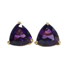 14 Karat Amethyst Stud Earrings