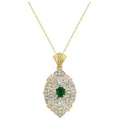 14 Karat and 18 Karat Gold Diamond 2.00 Carat Emerald Pendant Necklace