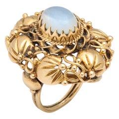 14 Karat and Moonstone Art Nouveau Ring