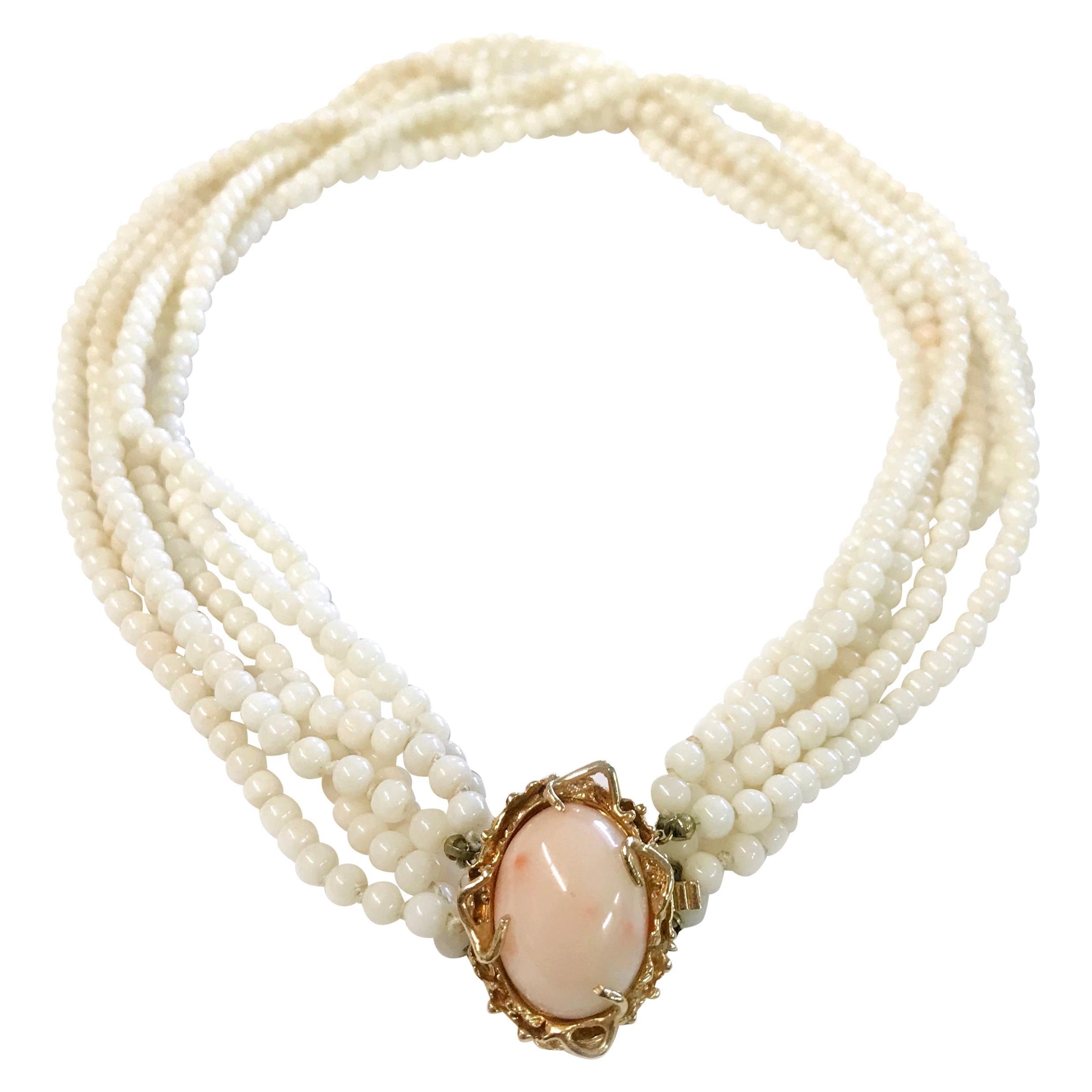 14 Karat Angel Skin Coral Choker Necklace