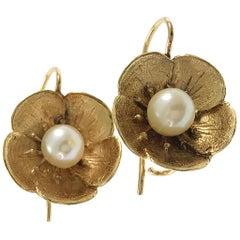 14 Karat Antique Flower Pearl Earrings