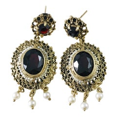 14 Karat Antique Garnet Seed Pearl Earrings