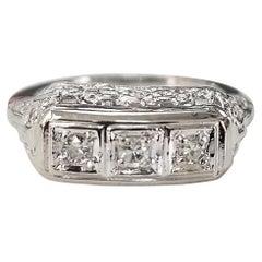 "14 Karat ""Art Deco"" 3-Stone Diamond Filigree Ring"