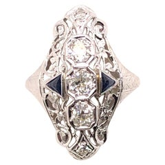 14 Karat Art Deco Diamond and Sapphire Ring