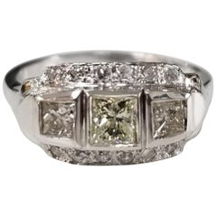 "14 Karat ""Art Deco"" Diamond Filigree Ring with 3 Princess Cut Diamonds"