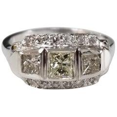 "14 Karat ""Art Deco"" Diamond Filigree Ring with 3 Princess Cut Diamonds"