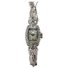 "14 Karat Art Deco Diamond ""Hamilton"" Watch with Diamonds on Link Bracelet"