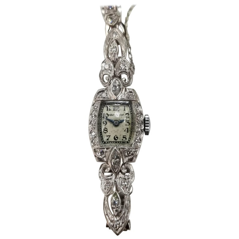 "14 Karat Art Deco Diamond ""Hamilton"" Watch with Diamonds on Link Bracelet For Sale"