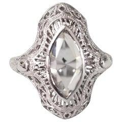 "14 Karat ""Art Deco"" Marquise Rose Cut Diamond Filigree Ring"