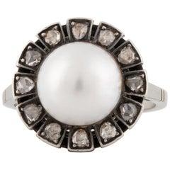 14 Karat Art Deco Pearl Diamond Ring