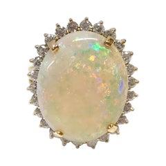 14 Karat Australian Opal Diamond Cocktail Ring