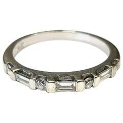 14 Karat Baguette and Round Diamond Wedding Ring