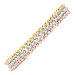 14 Karat Beaded White, Yellow, Rose Gold Bangles
