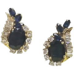 14 Karat Beautiful Diamond and Sapphire Earrings with Right and Left Earrings