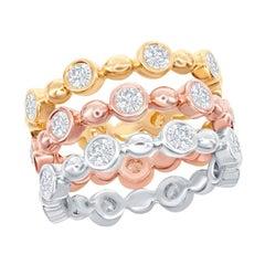 14 Karat Bezel Set White, Yellow, Rose Gold Diamond Rings