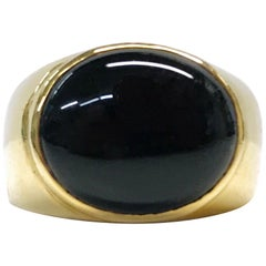 14 Karat Black Onyx Cabochon Ring