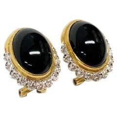 14 Karat Black Onyx Diamonds Earrings