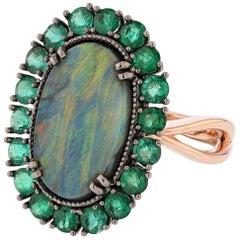 14 Karat Black Rhodium and Rose Gold Australian Black Opal and Emerald Ring