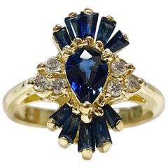 14 Karat Blue Sapphire Diamond Ring