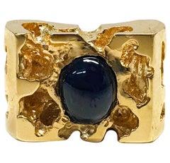 14 Karat Blue Sapphire Nugget Ring