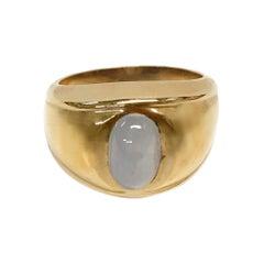 14 Karat Blue Star Sapphire Cabochon Ring