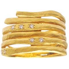 14 Karat Brushed Matte Finished Yellow Gold Band Ring with Hammer Set Diamonds