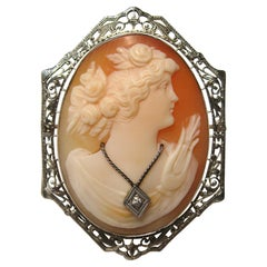 14 Karat Cameo White Gold Brooch Diamond