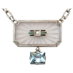14 Karat Camphor Glass Pendant Necklace Diamond Enamel Aquamarine Drop Art Deco