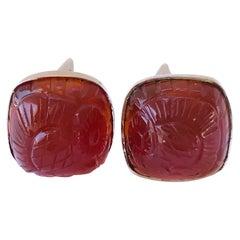 14 Karat Carved Carnelian Cufflinks