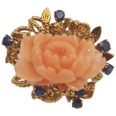 14 Karat Carved Coral Flower, Blue Sapphires Ring