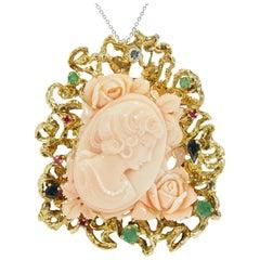 14 Karat Carved Coral Pendant Brooch Diamond Ruby Emerald Sapphire