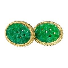 14 Karat Carved Green Jade Clip-On Earrings