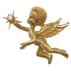14 Karat Cherub/Angel Brooch Pin