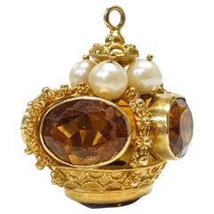 14 Karat Citrine Pearl Crown Pendant