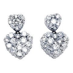14 Karat Cluster Heart Earrings